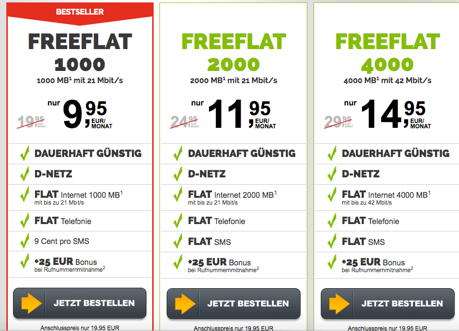 FreenetMobile FreeFlat Tarife