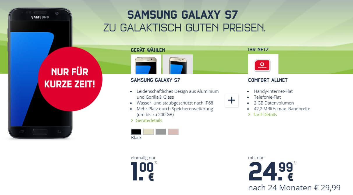 samsung galaxy s7 angebot im vodafone netz. Black Bedroom Furniture Sets. Home Design Ideas